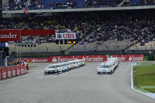 The start of the race. Porsche Supercup, Rd6, Hockenheim, Germany, 20-22 July 2012.
