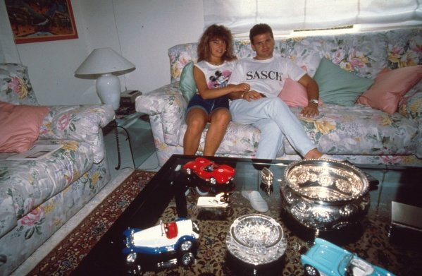 Nicola Larini at home with his wifeFormula One Drivers At Home