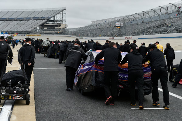 30 September-1 October, 2016, Dover, Delaware USA Denny Hamlin, FedEx Ground Toyota Camry team push back to the garage after qualifying is cancelled  ?2016, Scott R LePage  LAT Photo USA