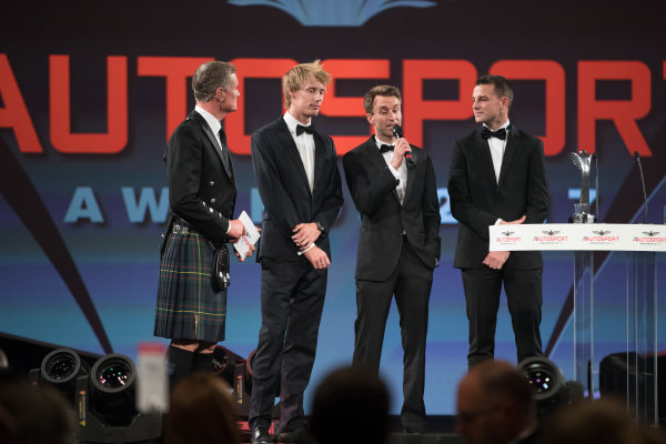2017 Autosport Awards Grosvenor House Hotel, Park Lane, London. Sunday 3 December 2017. WEC Champions Brendon Hartley, Timo Bernhard and Earl Bamber on stage. World Copyright: Zak Mauger/LAT Images  ref: Digital Image _O3I7315