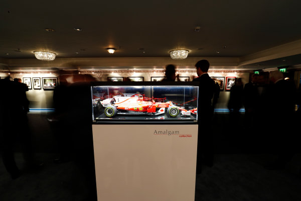 2017 Autosport Awards Grosvenor House Hotel, Park Lane, London. Sunday 3 December 2017. An model of a Sebastian Vettel Ferrari. World Copyright: Zak Mauger/LAT Images Ref: Digital Image _56i0510