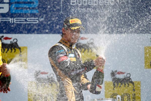 Hungaroring, Budapest, Hungary. 29th July 2012.Sunday Race.Esteban Gutierrez (MEX, Lotus GP) celebrates his victory on the podium. World Copyright: Andrew Ferraro/GP2 Media Serviceref: Digital Image _Q0C5885.jpg