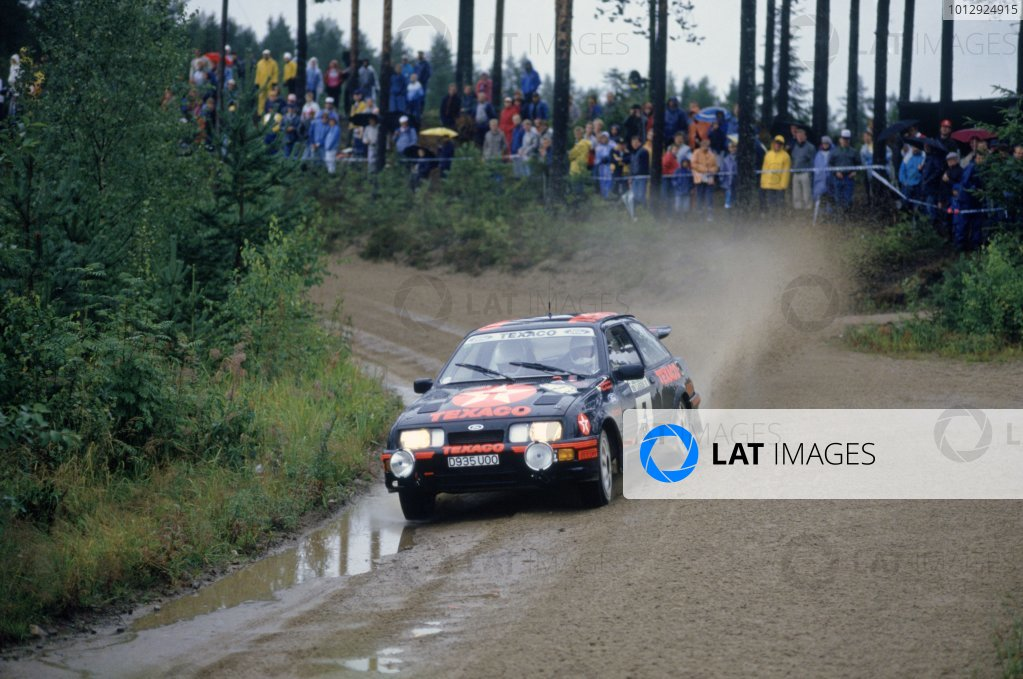 1987 World Rally Championship.1000 Lakes Rally, Finland. 27-30 August 1987.Stig Blomqvist/Bruno Berglund (Ford Sierra RS Cosworth), 3rd position.World Copyright: LAT PhotographicRef: 35mm transparency 87RALLY12
