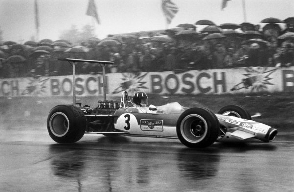 1968 German Grand Prix.Nurburgring, Germany. 4 August 1968.Graham Hill, Lotus 49B-Ford, 2nd position, action.World Copyright: LAT PhotographicRef: 2093 #5