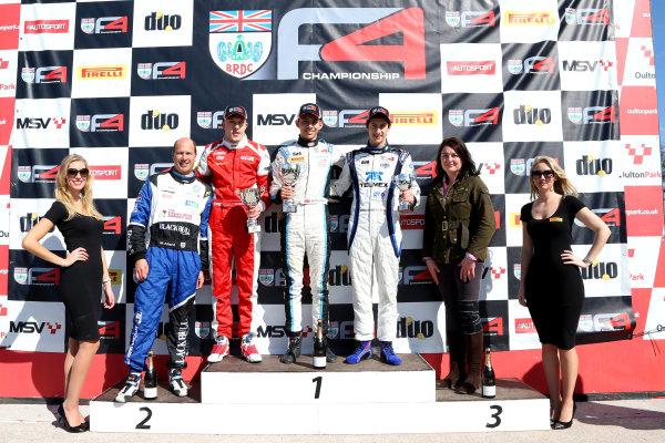 2015 BRDC Formula 4 Championship, Oulton Park, Cheshire. 4th - 6th April 2015. Race 3 Podium (l-r) Chris Mealin (GBR) Lanan Racing BRDC F4, Jordan Albert (GBR) SWR BRDC F4, Rodrigo Fonseca (MEX) Lanan Racing BRDC F4. World Copyright: Ebrey / LAT Photographic.