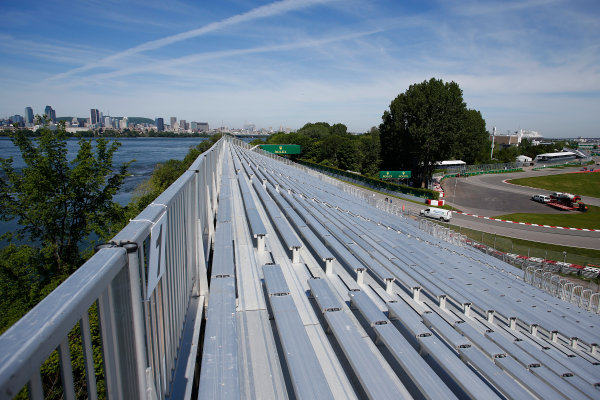 Circuit Gilles Villeneuve, Montreal, Canada. Thursday 4 June 2015. Grandstands around the first corners with the Montreal skyline in the background. World Copyright: Steven Tee/LAT Photographic. ref: Digital Image _X0W3895
