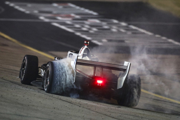 #1: Josef Newgarden, Team Penske Chevrolet makes the donuts