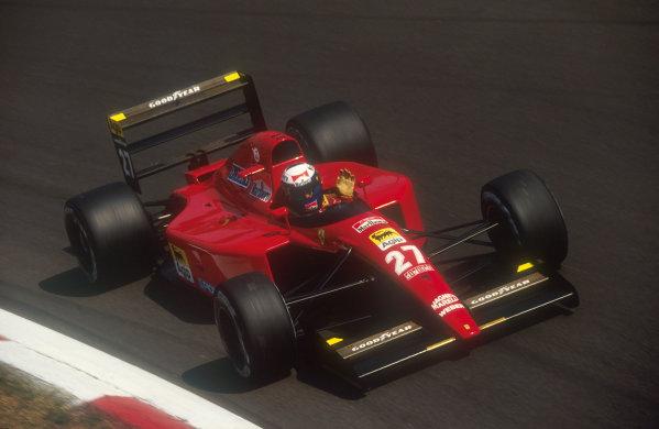 1991 Italian Grand Prix.Monza, Italy.6-8 September 1991.Alain Prost (Ferrari 643) 3rd position at Parabolica.Ref-91 ITA 07.World Copyright - LAT Photographic