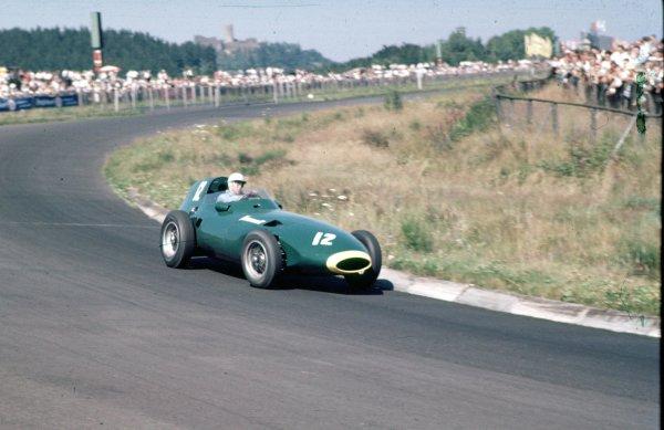 1957 German Grand Prix.Nurburgring, Germany.2-4 August 1957.Stuart Lewis-Evans (Vanwall VW4).Ref-57 GER 01.World Copyright - LAT Photographic
