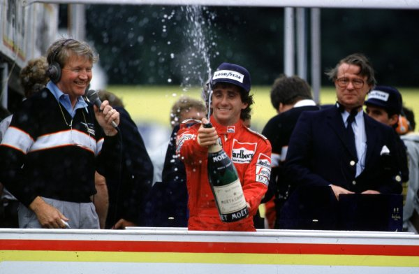 1985 European Grand Prix.Brands Hatch, Great Britain.4-6 October 1985.Alain Prost (McLaren TAG Porsche) 4th position, celebrates clinching the World Championship. 