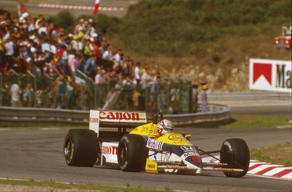 Estoril, Portugal.19-21 September 1986.Nigel Mansell (Williams FW11 Honda) 1st position.Ref-86 POR 03.World Copyright - LAT Photographic