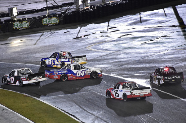#04: Cory Roper, Roper Racing, Ford F-150, #19: Derek Kraus, McAnally Hilgemann Racing, Toyota Tundra NAPA Auto Care, #17: Riley Herbst, Team DGR, Ford F-150, and #15: Tanner Gray, Team DGR, Ford F-150 Ford Performance