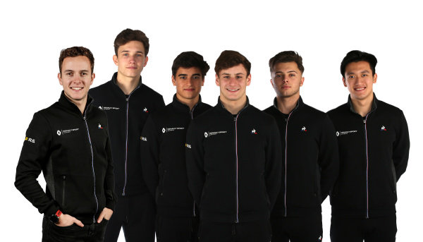 Renault Sport Academy Drivers (L to R): Anthoine Hubert,  Christian Lungaard, Caio Collet, Victor Martins, Max Fewtrell and Guanyu Zhou