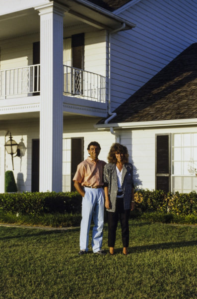 Michele Alboreto, Ferrari, poses with wife Nadia at Southfork Ranch