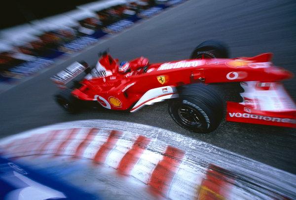 2002 Belgian Grand Prix.Spa-Francorchamps, Belgium. 30/8-1/9 2002.Rubens Barrichello (Ferrari F2002) 2nd position at La Source Hairpin.Ref-02 BEL 39.World Copyright - Rose/LAT Photographic