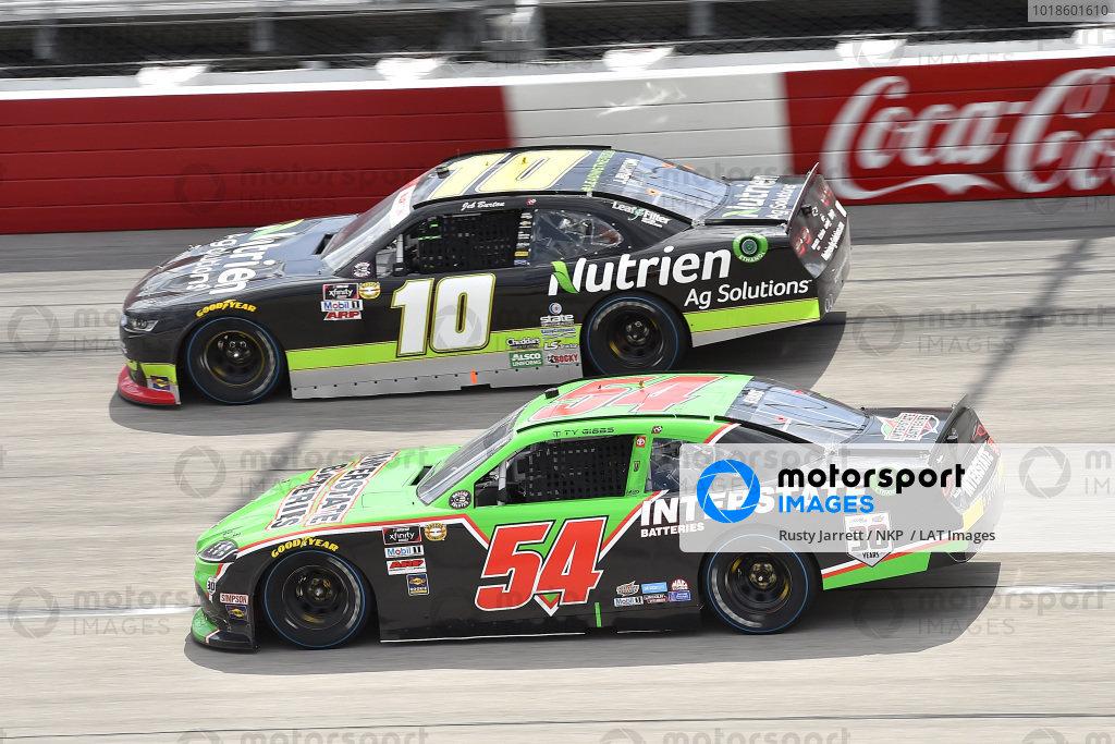 #54: Ty Giibs, Joe Gibbs Racing, Toyota Supra Interstate Batteries, #10: Jeb Burton, Kaulig Racing, Chevrolet Camaro Nutrien Ag Solutions