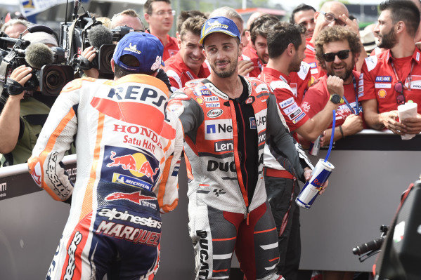 Race winner Andrea Dovizioso, Ducati Team, third place Marc Marquez, Repsol Honda Team.