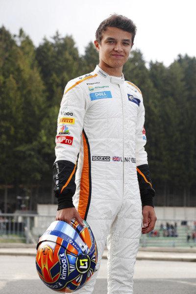 Lando Norris, McLaren, prepares to drive in FP1.