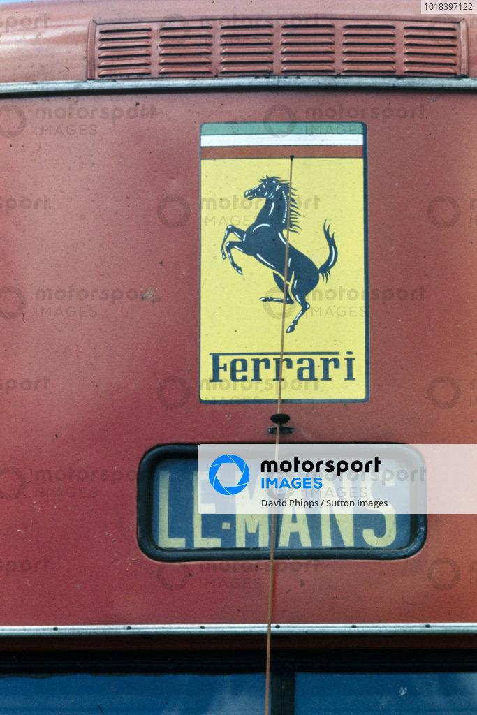 Detail of the Ferrari team transporter.