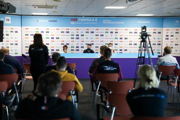 Antonio Felix da Costa (PRT) DS Techeetah, Stoffel Vandoorne (BEL) Mercedes Benz EQ and Rene Rast (DEU) Audi Sport ABT Schaeffler, in the press conference