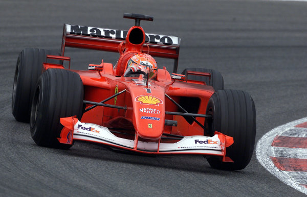 2001 Spanish Grand PrixCatalunya, Barcelona, Spain. 27-29 April 2001.Michael Schumacher (Ferrari F2001) 1st position.World Copyright - Steve Etherington/LAT Photographicref: 18 mb Digital Image