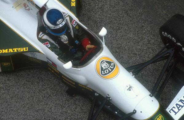 1991 San Marino Grand Prix.Imola, Italy.26-28 April 1991.Mika Hakkinen (Lotus 102B Judd) 5th position.Ref-91 SM 35.World Copyright - LAT Photographic