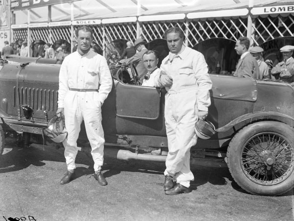 Frank Clement, Henry Birkin (in car), and Woolf Barnato.