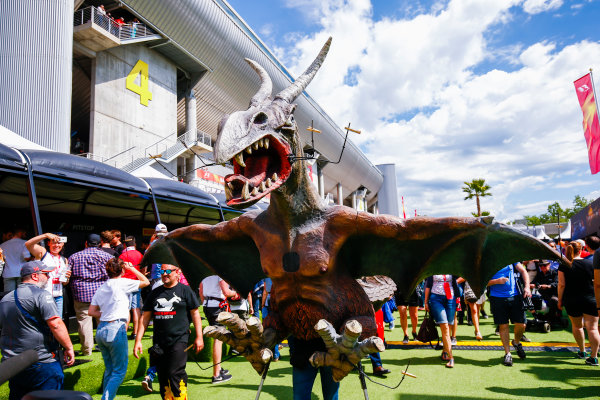 Circuit de Catalunya, Barcelona, Spain. Sunday 14 May 2017. Fan in a dinosaur costume in the fan zone. World Copyright: Andy Hone/LAT Images ref: Digital Image _ONZ5895