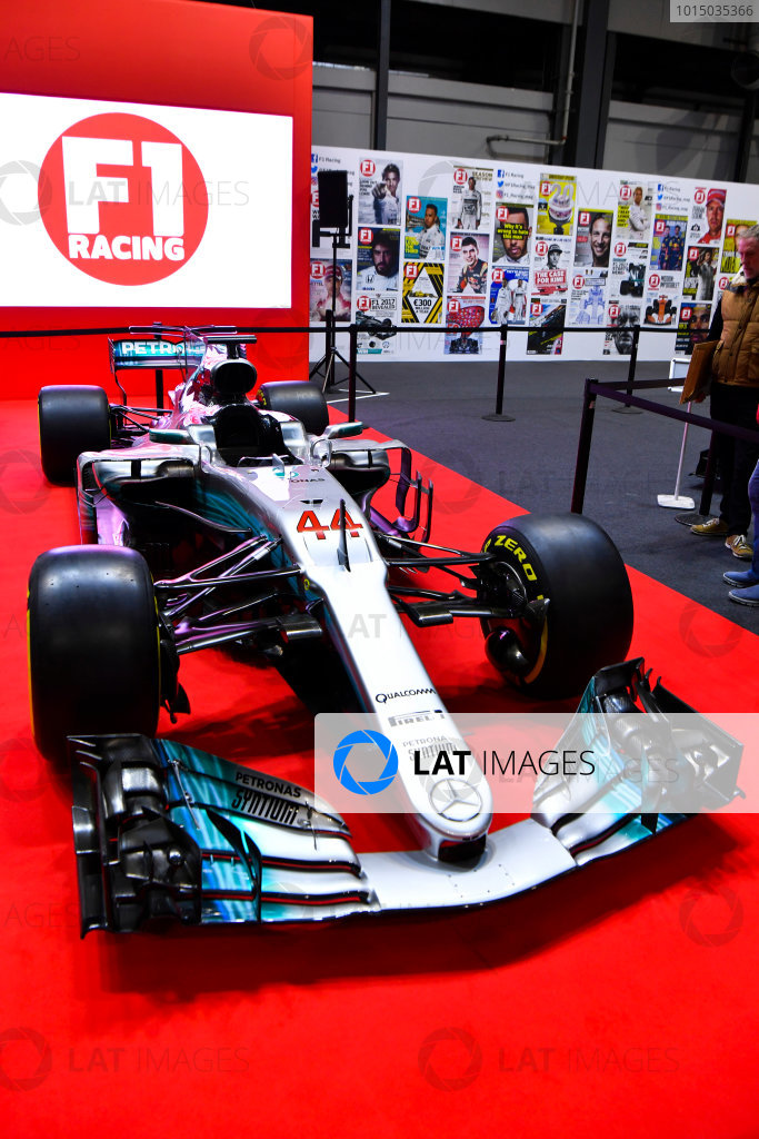 Autosport International Exhibition. National Exhibition Centre, Birmingham, UK. Thursday 11th January 2017. A Mercedes on the F1 Racing Stand.World Copyright: Mark Sutton/Sutton Images/LAT Images Ref: DSC_7093