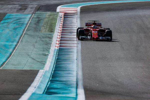Yas Marina Circuit, Abu Dhabi, United Arab Emirates. Wednesday 29 November 2017. Sebastian Vettel, Ferrari SF70H. World Copyright: Joe Portlock/LAT Images  ref: Digital Image _L5R8592