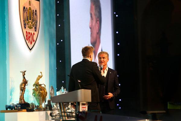 2017 British Racing Drivers Club Awards. London Hilton Hotel, Park Lane, London. Monday 4th December 2017. Jake Humphrey and David Coulthard. World Copyright: Jakob Ebrey / LAT Images. Ref: Coulthard-04 (2)