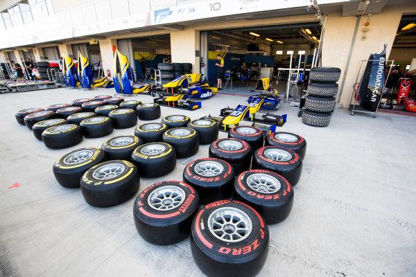2017 FIA Formula 2 Round 11. Yas Marina Circuit, Abu Dhabi, United Arab Emirates. Thursday 23 November 2017. Pirelli tyres outside of DAMS garage Photo: Sam Bloxham/FIA Formula 2. ref: Digital Image _W6I1660