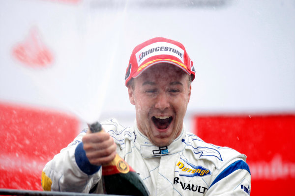 Autodromo di Monza, Monza, Italy 14th September.Sunday Race.  Davide Valsecchi (ITA, Durango) celebrates victory on the podium. World Copyright: Glenn Dunbar/GP2 Series Media Service. ref: Digital Image _O9T7892