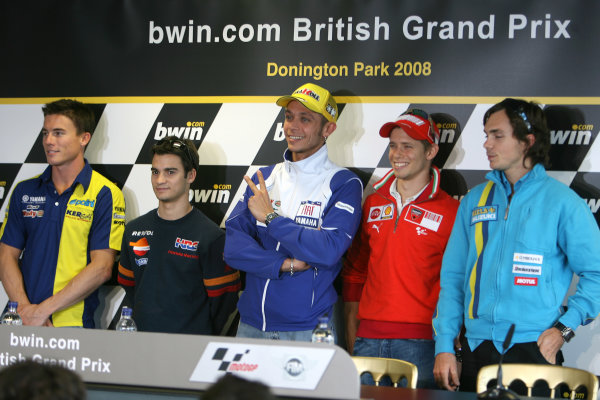 Donington Park, England. 18th June 2008.Preview Day.James Toseland Dani Pedrosa Valentino Rossi Casey Stoner and Chris Vermeulen line up for the cameras.World Copyright: Martin Heath/ LAT Photographicref: Digital Image