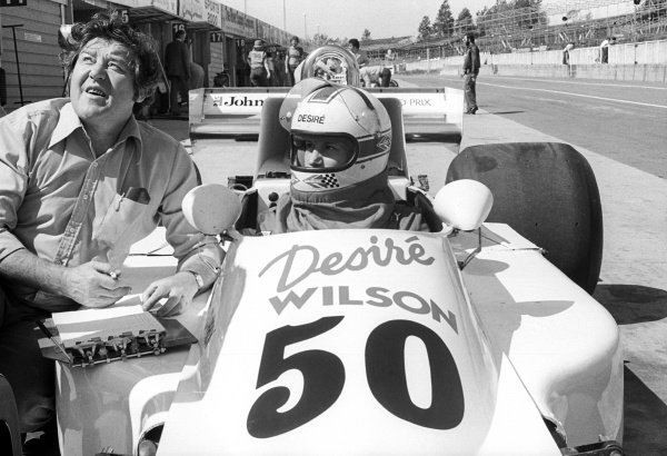 Desire Wilson (RSA) was invited to drive a March 761 during the F1 tyre test days at Brands Hatch. Formula One Testing, Brands Hatch, England, c. June 1978.