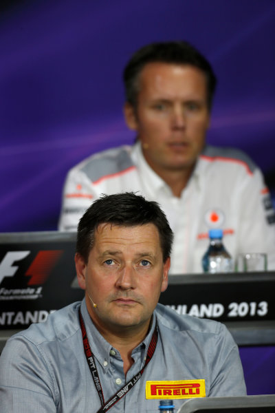 Nurburgring, Germany 5th July 2013 Sam Michael, Sporting Director, McLaren, and Paul Hembery, Director, Pirelli, in the Friday Press Conference World Copyright: Charles Coates/  ref: Digital Image _N7T9135