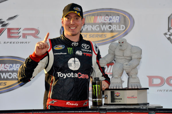 30-31 May 2013, Dover, Delaware USA Kyle Busch celebrates his win in Victory Lane ©2013, Nigel Kinrade LAT Photo USA