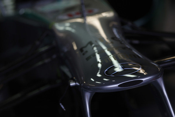 8th June 2013 The Mercedes W04 nose World Copyright: Charles Coates/  ref: Digital Image _N7T6116