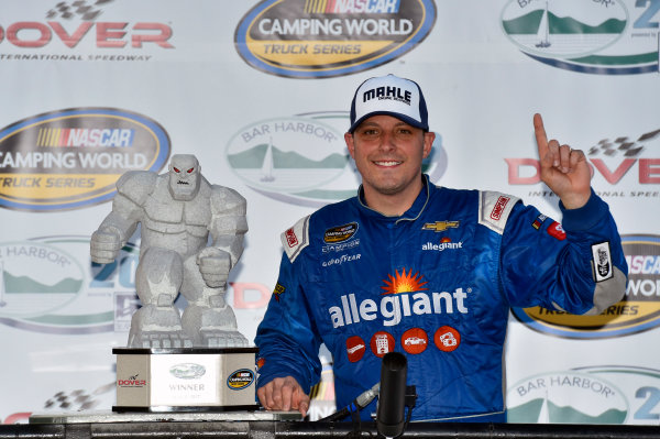 NASCAR Camping World Truck Series Bar Harbor 200 Dover International Speedway, Dover, DE USA Friday 2 June 2017 Johnny Sauter, Allegiant Airlines Chevrolet Silverado celebrates his win in Victory Lane World Copyright: Nigel Kinrade LAT Images ref: Digital Image 17DOV1nk06909