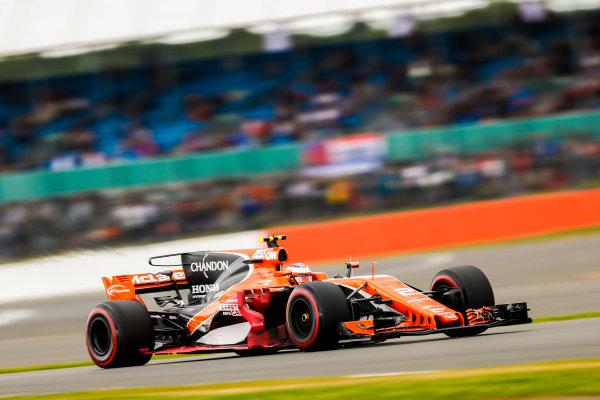 Silverstone, Northamptonshire, UK.  Friday 14 July 2017. Stoffel Vandoorne, McLaren MCL32 Honda. World Copyright: Glenn Dunbar/LAT Images  ref: Digital Image _X4I3368