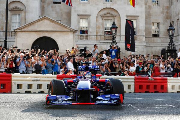 London, United Kingdom.  Wednesday 12 July 2017. Carlos Sainz Jr, Toro Rosso STR12 Renault. World Copyright: Glenn Dunbar/LAT Images  ref: Digital Image _X4I1034