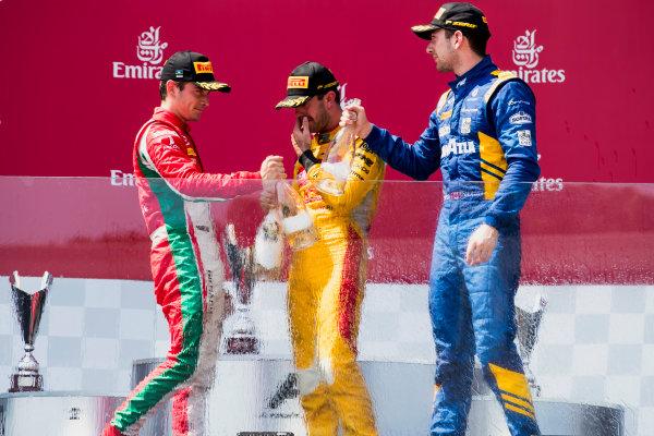 2017 FIA Formula 2 Round 4. Baku City Circuit, Baku, Azerbaijan. Sunday 25 June 2017. Charles Leclerc (MCO, PREMA Racing), Norman Nato (FRA, Pertamina Arden), Nicholas Latifi (CAN, DAMS)  Photo: Zak Mauger/FIA Formula 2. ref: Digital Image _56I8704