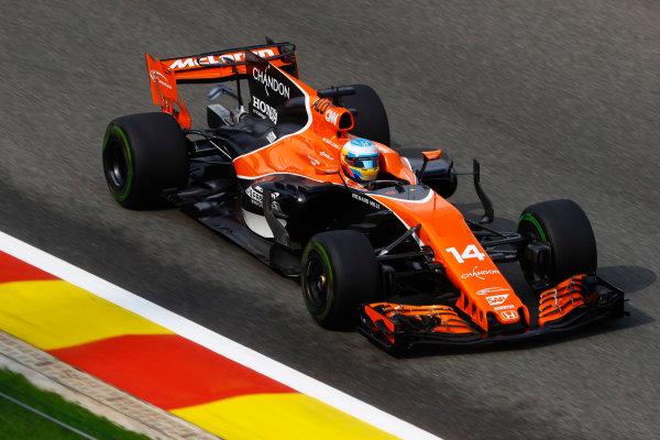 Spa Francorchamps, Belgium.  Saturday 26 August 2017. Fernando Alonso, McLaren MCL32 Honda.  World Copyright: Steven Tee/LAT Images  ref: Digital Image _R3I9688
