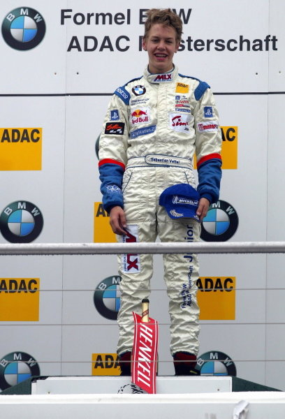 Race winner Sebastian Vettel (GER), Eifelland Racing.Formula BMW ADAC Championship, Rd20, Hockenheim, Germany. 5 October 2003. DIGITAL IMAGE