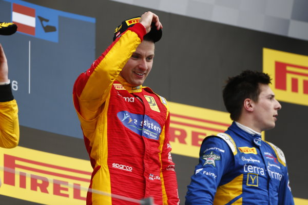 Jordan King (GBR, Racing Engineering celebrates on the podium. 2016 GP2 Series Round 4 Red Bull Ring, Spielberg, Austria. Sunday 3 July 2016.  Photo: Andy Hone/GP2 Series Media Service. ref: Digital Image _ONY5393