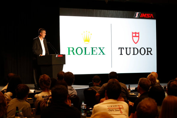 7-9 August, 2015, Elkhart Lake, Wisconsin, USA IMSA CEO Ed Bennett announces long term programs with Rolex and Tudor ? 2015, Michael L. Levitt LAT Photo USA