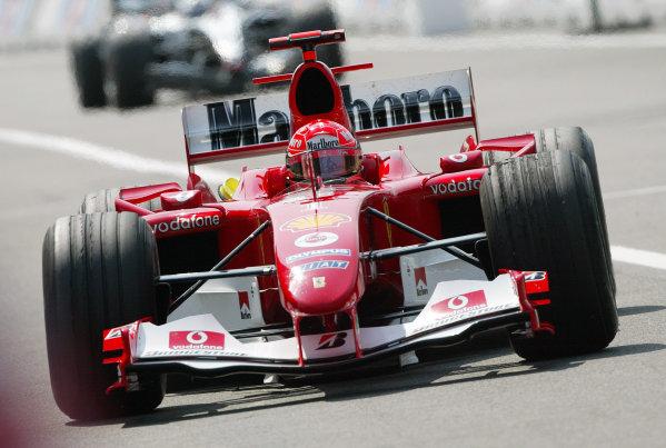 2004 German Grand Prix - Friday Practice,Hockenheim, Germany. 23rd July 2004 Michael Schumacher, Ferrari F2004, action.World Copyright: Steve Etherington/LAT Photographic ref: Digital Image Only