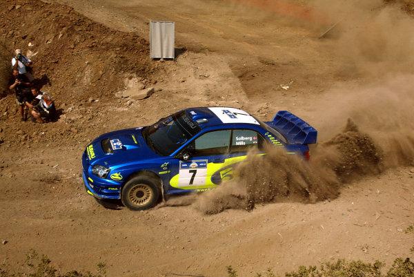 Petter Solberg in action, Subaru Impreza WRC03, Acropolis Rally 2003.Photo: McKlein/LAT