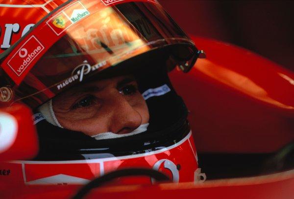 2003 Japanese Grand PrixSuzuka, Japan. 10th - 112th October 2003.Michael Schumacher, Ferrari F2003 GA, portraitWorld Copyright: Peter Spinney / LAT Photographic ref: 35mm Image 03JAP14