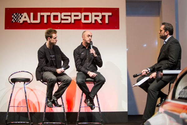 Autosport International Exhibition. National Exhibition Centre, Birmingham, UK. Sunday 11 January 2015. David Brabham and Sam Brabham on the Autosport stage. World Copyright: Malcolm Griffiths/LAT Photographic. ref: Digital Image A50A3047